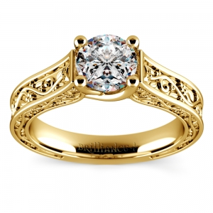 Antique Solitaire Engagement Ring in Yellow Gold | Featured