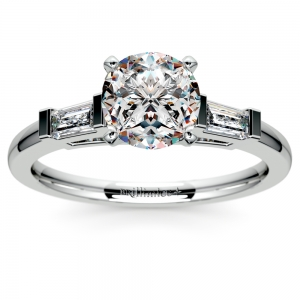 Baguette Diamond Engagement Ring in White Gold (1/4 ctw)