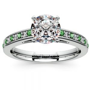 Cathedral Diamond & Emerald Gemstone Engagement Ring in White Gold | Featured