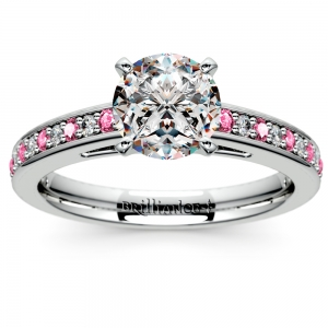 Cathedral Diamond & Pink Sapphire Gemstone Engagement Ring in White Gold