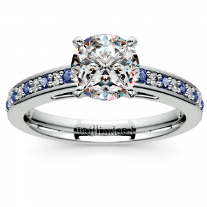 Cathedral Diamond & Sapphire Gemstone Engagement Ring in Platinum