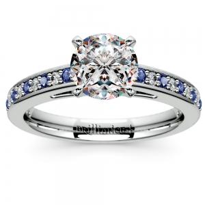 Cathedral Diamond & Sapphire Gemstone Engagement Ring in Platinum