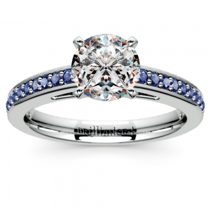 Cathedral Sapphire Gemstone Engagement Ring in White Gold