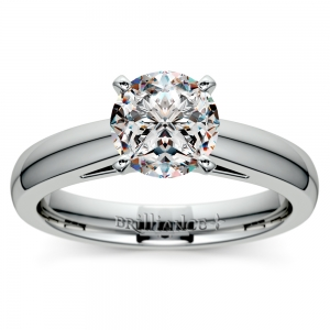 Cathedral Solitaire Engagement Ring in White Gold (3mm)