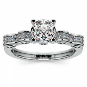 Cinderella Ribbon Diamond Engagement Ring in White Gold | Featured