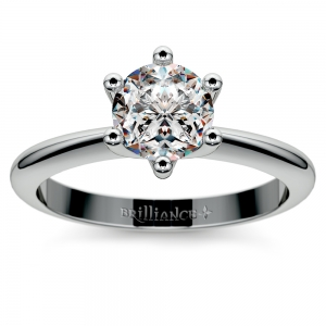 Classic Six Prong Solitaire Engagement Ring in White Gold | Featured