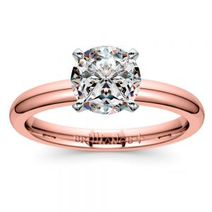 Comfort-Fit Solitaire Engagement Ring in Rose Gold (2mm)