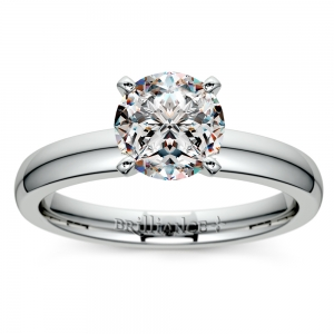 Comfort-Fit Solitaire Engagement Ring in White Gold (3mm)