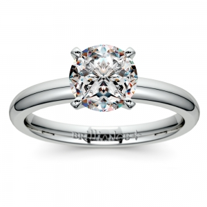 Comfort-Fit Solitaire Engagement Ring in White Gold (2mm)