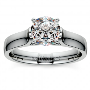 Contour Solitaire Engagement Ring in White Gold