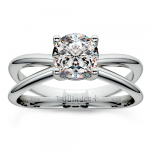 Cross Split Shank Solitaire Engagement Ring in White Gold | Featured
