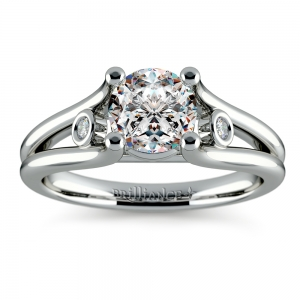 Diamond Accent Solitaire Engagement Ring in White Gold | Featured