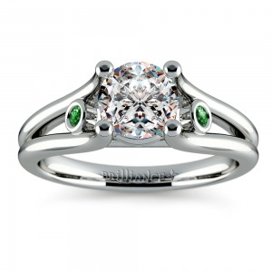 Emerald Accent Gem Engagement Ring in White Gold