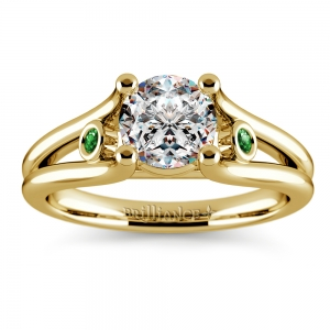 Emerald Gemstone Accent Solitaire Ring in Yellow Gold
