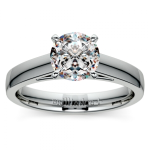 Flat Cathedral Solitaire Engagement Ring in White Gold (3mm)