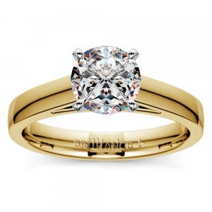 Flat Cathedral Solitaire Engagement Ring in Yellow Gold (3mm)