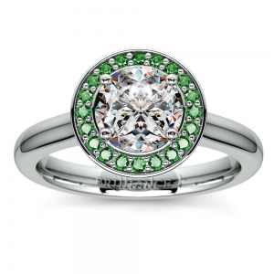 Halo Emerald Gemstone Engagement Ring in White Gold