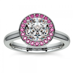 Halo Pink Sapphire Gemstone Engagement Ring in White Gold