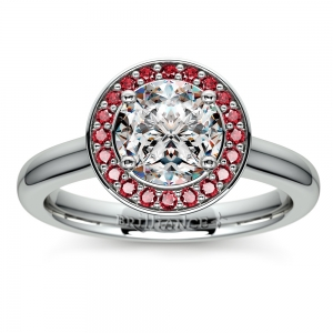 Halo Ruby Gemstone Engagement Ring in White Gold