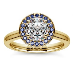 Halo Sapphire Gemstone Engagement Ring in Yellow Gold