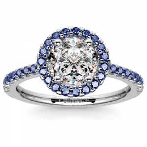 Halo Sapphire Gemstone Engagement Ring with Side Stones in White Gold | Featured