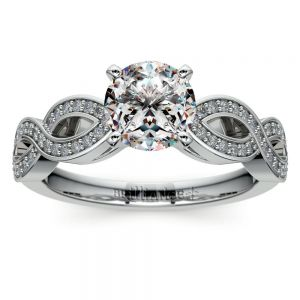 Infinity Twist Cathedral Diamond Engagement Ring in White Gold