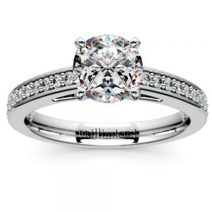 Pave Cathedral Diamond Engagement Ring in White Gold (1/4 ctw)