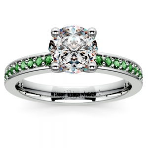 Pave Emerald Gemstone Engagement Ring in White Gold