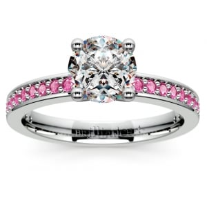 Pave Pink Sapphire Gemstone Engagement Ring in White Gold