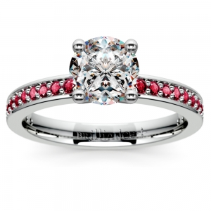 Pave Ruby Gemstone Engagement Ring in White Gold