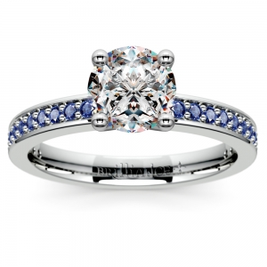 Pave Sapphire Gemstone Engagement Ring in White Gold