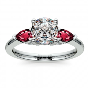 Pear Ruby Gemstone Engagement Ring in White Gold | Featured