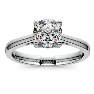 Petite Cathedral Solitaire Engagement Ring in White Gold