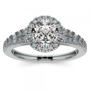 Petite Split Shank Halo Diamond Engagement Ring in White Gold | Featured