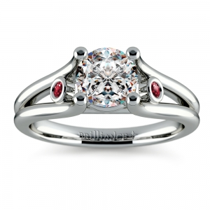 Ruby Accent Gem Engagement Ring in White Gold
