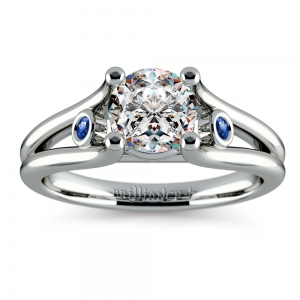 Sapphire Accent Gem Engagement Ring in White Gold