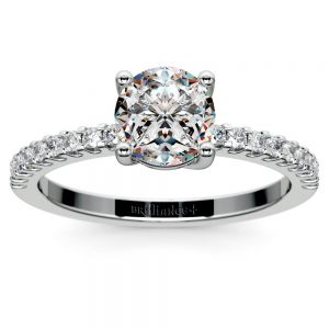 Scallop Diamond Engagement Ring in White Gold (1/5 ctw)
