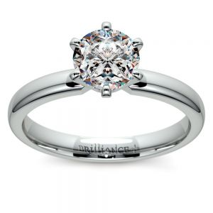 Six-Prong Solitaire Engagement Ring in White Gold (2.5 mm)