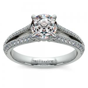 Split Shank Diamond Engagement Ring in White Gold