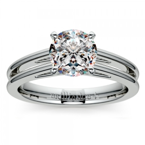 Split Shank Solitaire Engagement Ring in White Gold | Featured