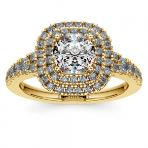 Square Double Halo Diamond Engagement Ring in Yellow Gold | Featured
