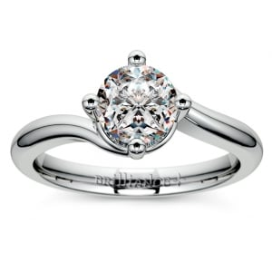 Swirl Style Solitaire Engagement Ring in White Gold