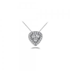 Halo Cluster Diamond Pendant in White Gold (1/3 ctw)