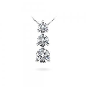 Three Stone Diamond Pendant in White Gold (2/5)
