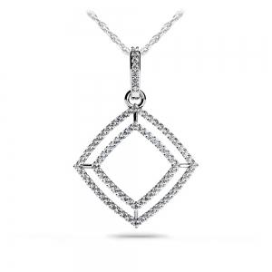 Box Diamond Pendant in White Gold