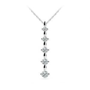 Diamond Drop Pendant in White Gold (1/4 ctw)