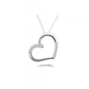 Diamond Heart Pendant in White Gold (1/4 ctw)