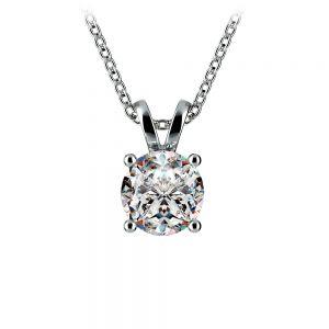 Round Diamond Solitaire Pendant in Platinum (1 ctw)
