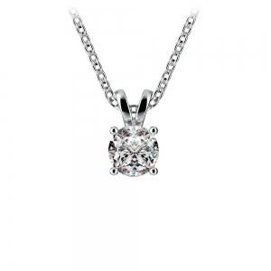 Round Diamond Solitaire Pendant in White Gold (1/2 ctw)