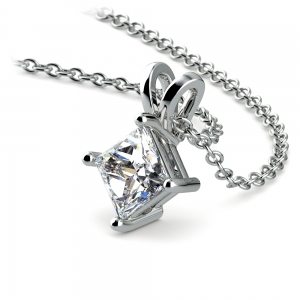 Square Solitaire Pendant Setting in White Gold